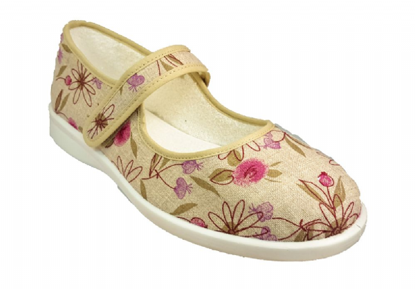 Meadow variable fit velcro touch fastening summer canvas printed shoe.